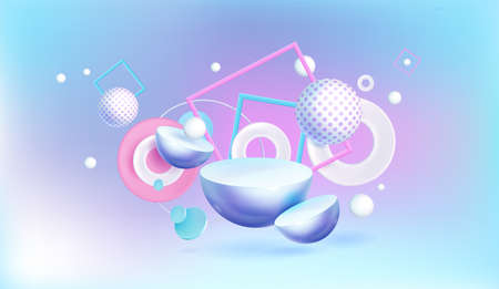 Abstract background with 3d geometric shapes on blue and pink backdrop, spheres with polka dots, hemispheres and white rings or circles with square frames, Realistic vector banner for ads promotion
