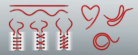 Red shoelaces, lacing by ropes in sneakers different ways. Vector realistic set of footwear cords in shape of heart, swirl, wavy and straight line. Boots or shoes with strings isolated on background