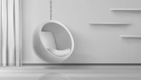 Ball chair, round armchair hang on chain at home interior. Futuristic furniture for home or office, egg shaped seat on white wall with shelves and curtain background Realistic 3d vector stylish design 矢量图像