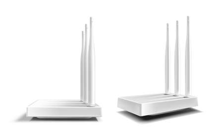 Wifi router, wireless broadband modem with antennas isolated on white background. Vector realistic mockup of router for speed network connection and Internet access 矢量图像