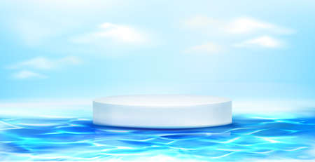 White round podium floating on blue water surface. Vector realistic 3d mockup of circle platform, empty pedestal for display product. Template of empty 3d stand on background of sea and sky