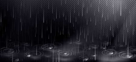 Rain and puddle with circles from falling drops. Rainy weather elements isolated on transparent background. Vector realistic background with autumn shower and ripple water surface