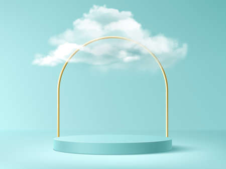 Podium with clouds and gold arch, abstract background with empty cylindrical stage for award ceremony, product presentation platform, pedestal on turquoise sky backdrop, Realistic 3d vector concept 矢量图像