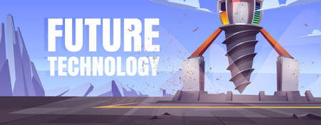 Future technology cartoon banner with futuristic drilling rig, drill ship for exploration and mining. Landscape with platform and derrick with auger, spaceship for bore ground, Vector illustration Vettoriali