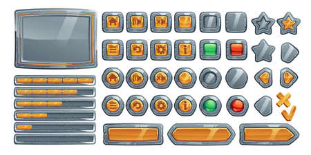 Game buttons, cartoon interface of stone, metal and gold texture. Menu boards, ui or gui design elements. User setting panel with keys isolated on white background, Vector illustration, icons set 矢量图像