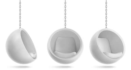 Ball chair, round armchair hang on chain front and side view. Futuristic furniture design for home or office interior, comfortable egg shaped seat isolated on white background. Realistic 3d vector set