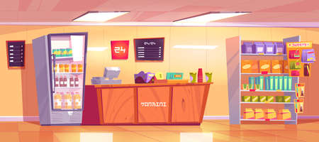 Konbini, convenience store interior with wooden checkout counter, shelves with food and refrigerator with drinks. Vector cartoon illustration of open 24 hours shop, empty japanese supermarket inside