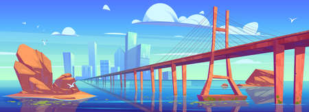 Modern city skyline view with low-water bridge, metropolis cityscape with skyscraper buildings architecture, glass towers under cloudy sky, town at ocean or sea coastline, cartoon vector illustration