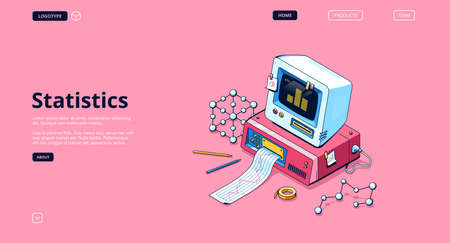 Statistics banner. Service for data analysis and research, statistical information. Vector landing page with isometric illustration of retro computer with printer, graph and diagram on screen