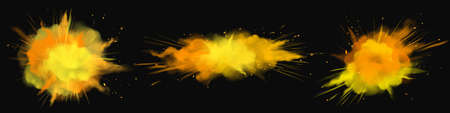 Powder Holi paints orange, gold, yellow explosion clouds, ink splashes, decorative vibrant dye for festival isolated on black background, traditional indian holiday. Realistic 3d vector icons set