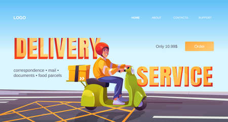 Delivery service cartoon landing page, man on scooter deliver box. Correspondence, mail, documents, food, parcels express shipping, order transportation to customers, company ad, Vector web banner