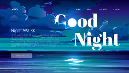 Night walks banner. Travel tour of evening walking on ocean beach. Vector landing page with cartoon summer landscape with sea, coastline and clouds on midnight sky