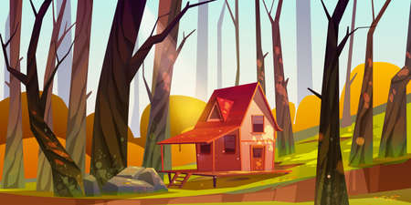 Wooden stilt house in autumn forest. Old shack with terrace on piles in sunny wood with fall bare trees without foliage around. Uninhabited forester hut, pc game background Cartoon vector illustration