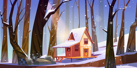 Wooden stilt house in winter forest. Old snow swept shack with terrace stand on piles in deep wood with falling snowflakes. Uninhabited forester hut, pc game background, Cartoon vector illustration