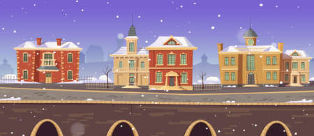 Vintage city winter street with european colonial victorian buildings and lake promenade. 19th century town with old architecture. Retro style cityscape at river shore, Cartoon vector illustration