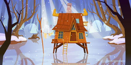 Wooden stilt house at frozen swamp in winter forest. Old shack on piles in deep wood. Witch hut, computer game background, fantasy mystic nature landscape with marsh pond, Cartoon vector illustration 矢量图像