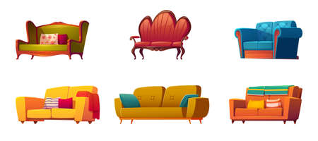Cartoon couches and sofas furniture isolated set. Classic and modern design made of leather, fabric, buttoned quilted upholstery with pillows, interior objects on white background, vector illustration 矢量图像