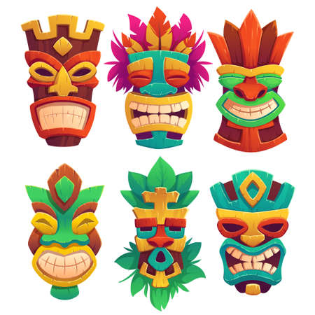 Tiki masks, tribal wooden totems, hawaiian or polynesian style attributes, scary faces with toothy mouth, decorated with leaves isolated on white background. Cartoon vector illustration, icons set