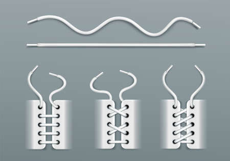 White shoelaces, lacing by ropes in sneakers different ways. Vector realistic set of wavy and straight footwear cords, boots or shoes with strings isolated on gray background 矢量图像