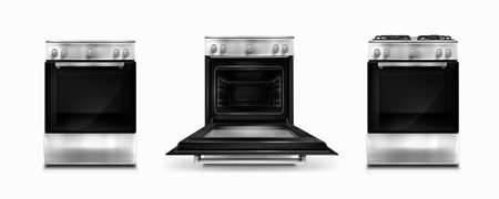 Gas stove and induction cooking panel with electric oven with open and closed door isolated on white background. Vector realistic set of metal kitchen cooker front view