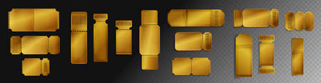 Blank golden tickets mockup with barcode and dotted line. Empty templates for concert, movie theater and transport boarding. lottery coupons isolated on transparent background, Realistic 3d vector set