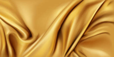 Gold silk folded fabric background, luxurious textile decoration backdrop for poster, banner or cover design. Golden drapery material with soft satin waves, poster, 3d vector realistic illustration 矢量图像