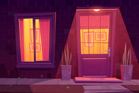 House facade with brick wall, white window and door, plants and outside lamp. Vector cartoon illustration of residential building exterior in suburban neighborhood, home entrance at night 矢量图像