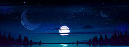 Full moon in night sky with stars and clouds above trees and pond reflecting starlight background. Dark heaven with moonlight romantic fantasy midnight twilight landscape Cartoon vector panoramic view