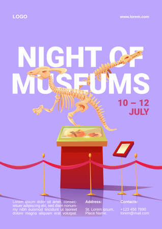Night of museums poster. International event for remain open late into night exhibitions. Vector cartoon illustration of prehistoric exhibits, dinosaur skeleton and fossil extinct animals