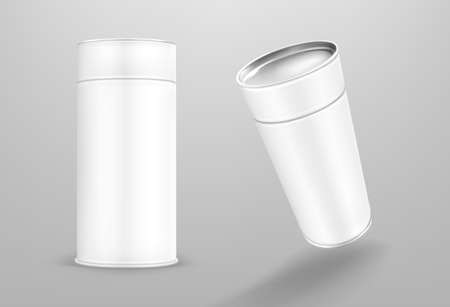White paper tube, cardboard cylinder box isolated on gray background. Vector realistic mockup of carton round container, blank package tubus for food with closed cap in front and perspective view 矢量图像