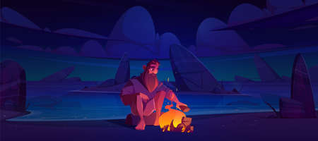 Alone castaway man on uninhabited island with bonfire at night. Vector cartoon illustration of desert sea beach with stones, fire and lost person. Survivor after shipwreck character Vettoriali