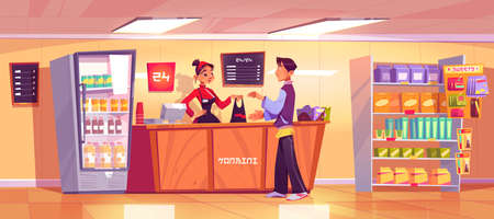 Japanese konbini shop with seller give products to consumer. Asian woman vendor in uniform stand at cashier desk and shelves of minimarket selling goods to man visitor, Cartoon vector illustration