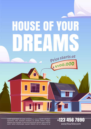 House of your dream promo poster for selling suburban real estate. Street with residential cottages, countryside two storey home buildings with garages and price tag, Cartoon vector illustration