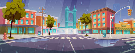 Rain on city street with houses, road with pedestrian crosswalk and traffic lights. Vector cartoon rainy cityscape, urban landscape with residential buildings, trees and overpass road