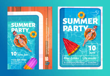 Summer party cartoon flyers with woman in swimming pool on inflatable ring top view. Invitation card or poster for summertime vacation entertainment with free drinks and live music vector illustration Ilustração