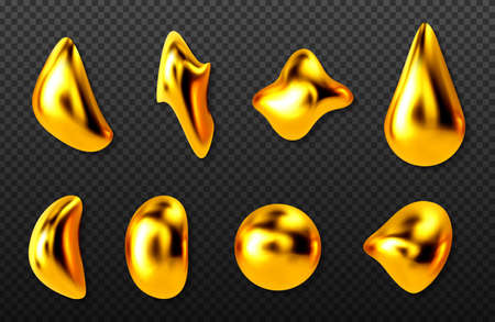 Liquid gold drops, golden 3d abstract drips of paint, cosmetics oil or collagen capsules of different shapes, metallic texture isolated on transparent background, Realistic vector illustration, set