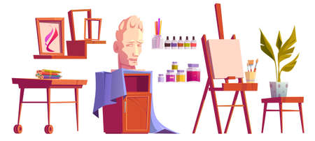 Artist studio art stuff canvas on easel, paint, brushes and colored pencils on wooden desk, plaster head, frames for pictures, potted plant isolated on white background Cartoon vector illustration set