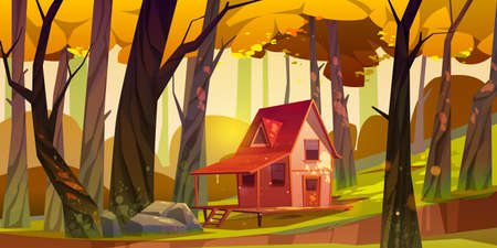 Wooden stilt house in autumn forest. Old shack with terrace on piles in deep wood with falling sun beams among fall trees. Uninhabited forester hut, pc game background, Cartoon vector illustration