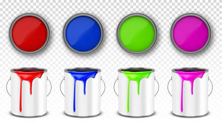 Paint metal bucket, tin cans with red, blue, pink and green ink in front and top view. Vector realistic 3d mockup of open steel containers with handle and paint drips isolated on white background