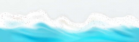 Top view of sea wave foam splashing down border. Blue ocean foamy water splash isolated on transparent background. Natural nautical frame, spume froth design element, realistic 3d vector illustration