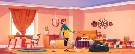 Woman clean bedroom in bohemian style. Mother, housewife or cleaning service staff with broom wear rubber gloves and apron stand in messy boho interior with scatter garbage Cartoon vector illustration