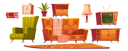 Retro old living room furniture and stuff sofa, wooden nightstand, armchair and antique switched-off television books, alarm clock, wood tv stand and table lamp with rag, Cartoon vector icons set