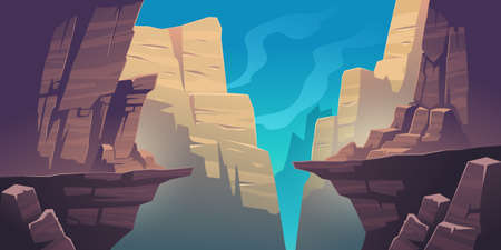 Mountain landscape with precipice in rocks. Vector cartoon illustration of abyss between cliffs, canyon or gorge. Dangerous rocky crack, gap or chasm divides stone ledge Vecteurs