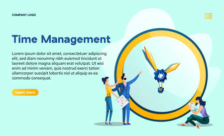 Time management landing page. Boss gives orders to employees at huge watch with gears. Hidden mechanisms of business processes, workers with task cards and contract, Cartoon flat vector web banner
