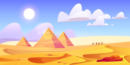 Egypt desert landscape with pyramids and camels caravan. Egyptian ancient architecture at golden sand dunes under blue cloudy sky and bedouins waking on horizon in Sahara, cartoon vector illustration.