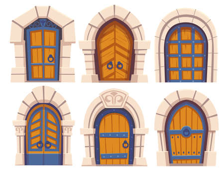 Cartoon doors, medieval castle wooden and stone arched entries to palace. Fairytale vintage building exterior elements with floral forged decoration and ring knobs, vector illustration, icons set