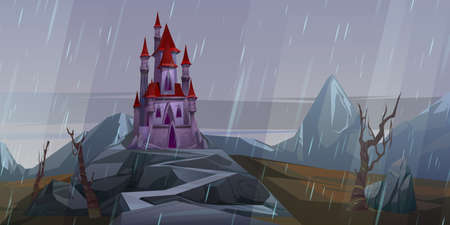 Castle on rock at rainy weather, creepy old or haunted medieval palace in mountains, building with pointed tower roofs under gloomy sky. Fantasy architecture, fortress, Cartoon vector illustration