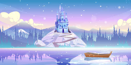 Magic castle on mountain top at river pier with boat floating on water at winter day with falling snow. Fairytale palace at beautiful landscape, fantasy medieval fortress, Cartoon vector illustration