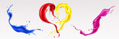 Splashes of liquid paints with swirls in heart shape isolated on transparent background. Vector realistic set of waves of colorful ink. Flows of red, blue, pink and yellow oil or acrylic dyes