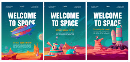 Virtual space travel flyers. VR technologies, augmented reality with galaxy exploring and colonization alien planets. Vector posters with cartoon landscape of Mars with colony base and spacecraft